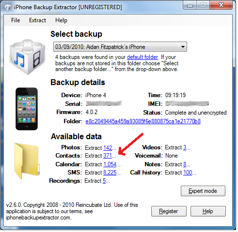 iPhone Backup Extractor main window