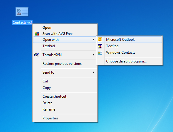 Import contacts to Outlook or Windows Address Book