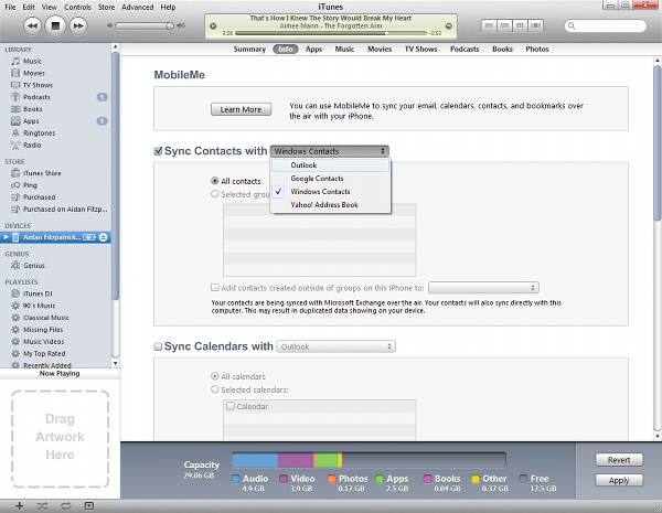 Synching contacts with iTunes