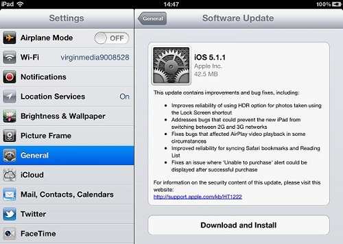 Apple iPad Software Update to iOS 5.1.1
