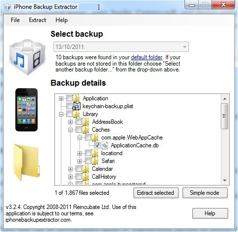 Cache options in iPhone Backup Extractor