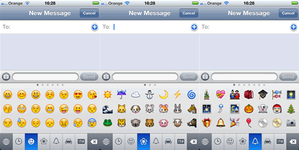 Emoticons types for SMS and iMessages on iOS5