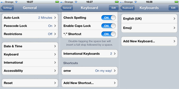 Settings Emoticons for SMS and iMessages on iOS5