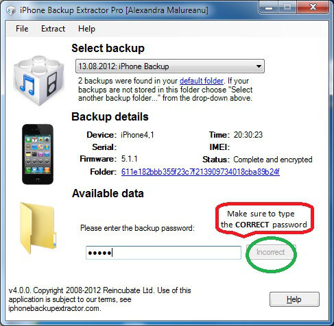 iPhone Backup Extractor Pro Incorrect Password