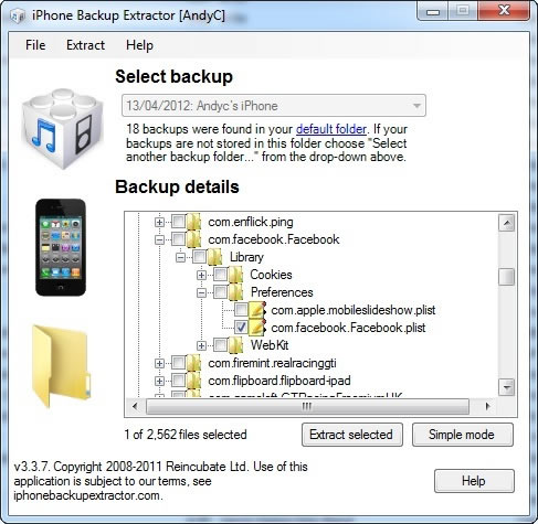 iPhone Backup Extractor Expert Mode - Facebook iOS App Data Authentication