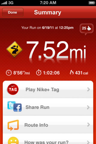 Screen-shot of the Nike+ GPS