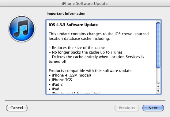 Screen-shot of the iOS 4.3.3 information shown during update in iTunes
