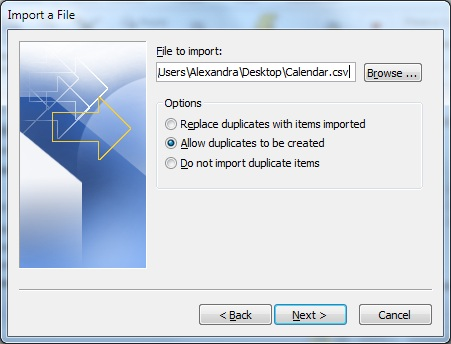 Select the Calendar file to Import
