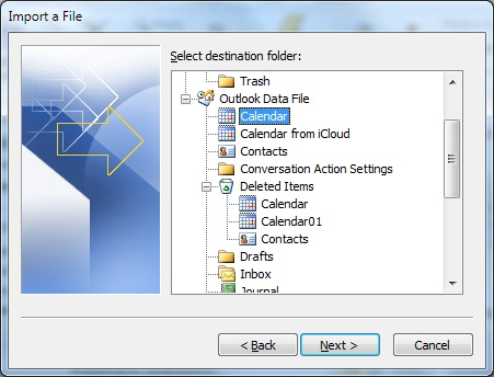Select folder where to import your Calendar file