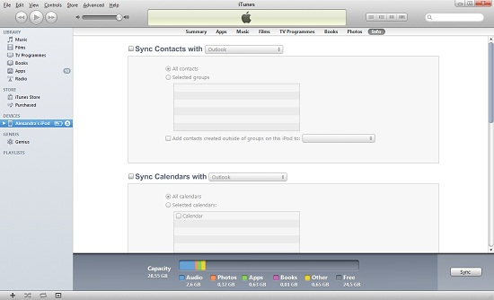 Sync Calendar with iTunes