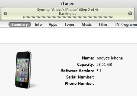 iTunes backup process