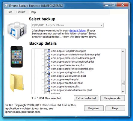 Springboard PList file location in iPhone Backup Extractor