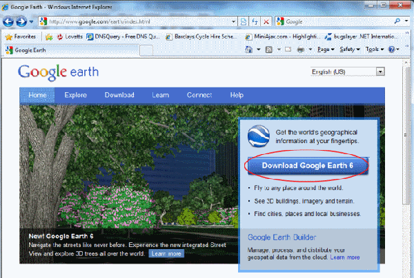 Downloading Google Earth
