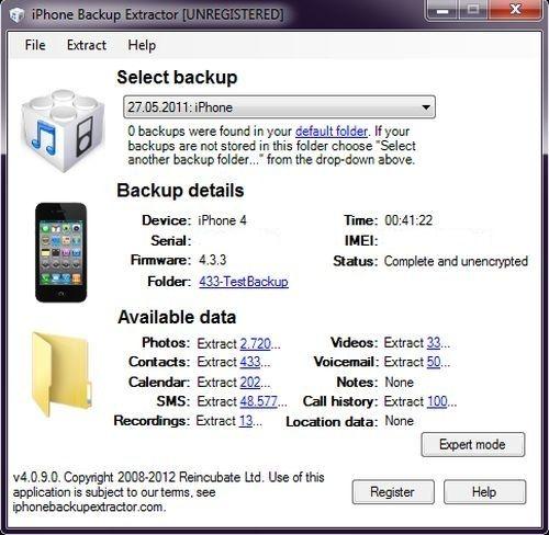 iphone backup extractor 409