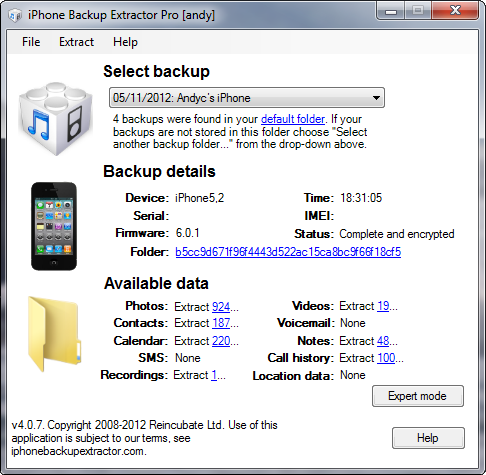 iPhone Backup Extractor 4.0.7