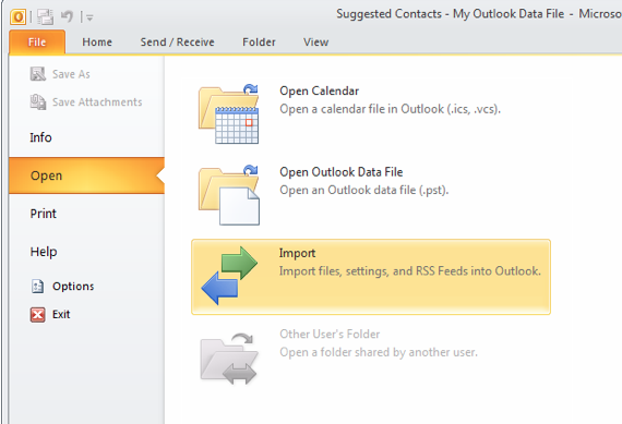 In Outlook, Select File > Open > Import
